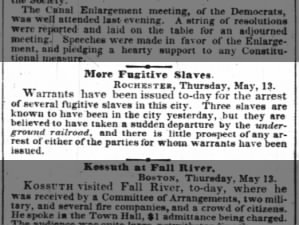 3 fugitive slaves in New York are believed to have escaped via the Underground Railroad