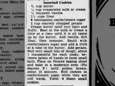 1940: Snowball Cookies recipe
