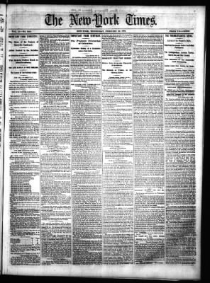 The New York Times from New York, New York on February 26, 1862 · Page 1