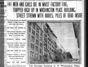 Triangle Shirtwaist Factory fire headlines