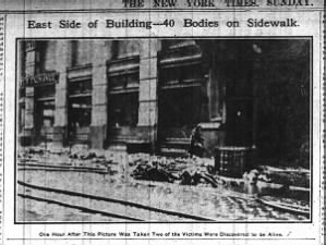 Photo of fire victims on sidewalk outside of Triangle Shirtwaist Factory