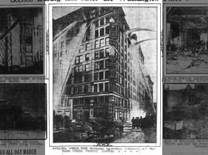 Photo of firefighters working to put out the Triangle Shirtwaist Factory fire in New York