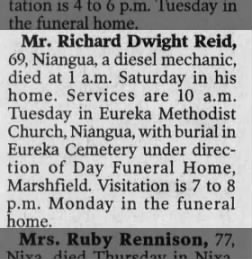 Death announcement for Richard Dwight Reid