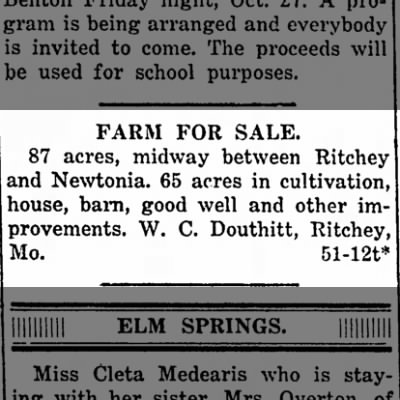 W. C. Douthitt selling farm. Oct 19, 1916