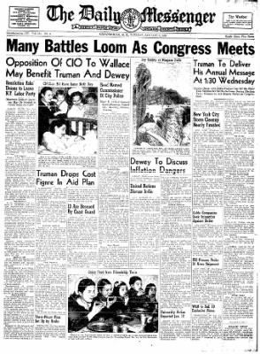 The Daily Messenger from Canandaigua, New York on January 6, 1948 · Page 1