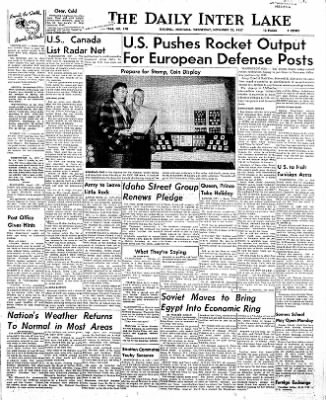 The Daily Inter Lake from Kalispell, Montana on November 20, 1957 · Page 1