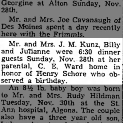 - Mr. and Mrs. J. M. Kunz, Billy and JuTianne...
