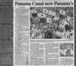 United States transfers ownership of the Panama Canal to Panama