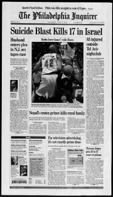 The Philadelphia Inquirer from Philadelphia, Pennsylvania on June 2, 2001 · Page 1
