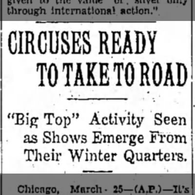 """""""It's 'Big Top' Time Again"""" - CIRCUSES READY TO TAKE TO ROAD """"Big Top""""..."""
