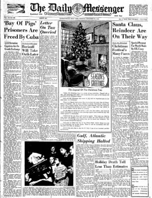 The Daily Messenger from Canandaigua, New York on December 24, 1962 · Page 1