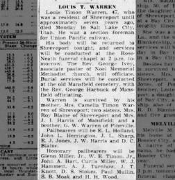 Louis T. Warren Obituary