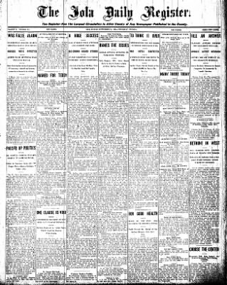 Iola Daily Register And Evening News from Iola, Kansas on September 10, 1908 · Page 1