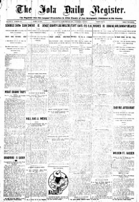 Iola Daily Register And Evening News from Iola, Kansas on September 12, 1908 · Page 1