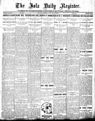 Iola Daily Register And Evening News from Iola, Kansas on September 14, 1908 · Page 1
