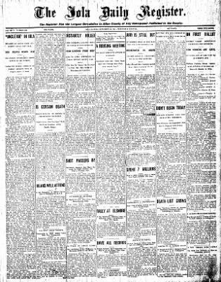 Iola Daily Register And Evening News from Iola, Kansas on September 16, 1908 · Page 1
