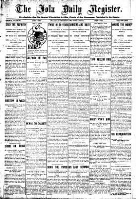 Iola Daily Register And Evening News from Iola, Kansas on September 28, 1908 · Page 1