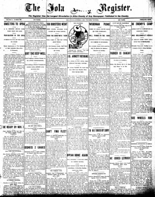 Iola Daily Register And Evening News from Iola, Kansas on October 1, 1908 · Page 1
