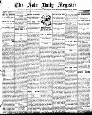 Iola Daily Register And Evening News from Iola, Kansas on October 3, 1908 · Page 1