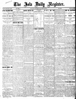 Iola Daily Register And Evening News from Iola, Kansas on September 23, 1907 · Page 1
