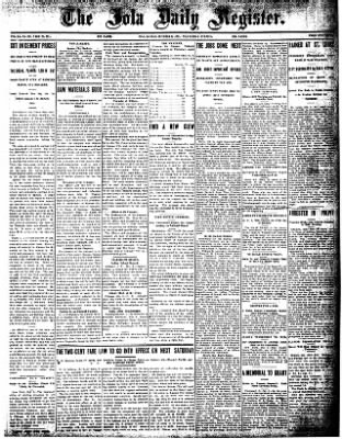 Iola Daily Register And Evening News from Iola, Kansas on October 2, 1907 · Page 1