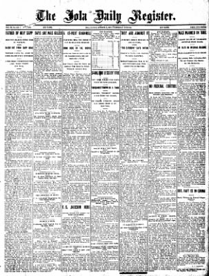 Iola Daily Register And Evening News from Iola, Kansas on October 9, 1907 · Page 1