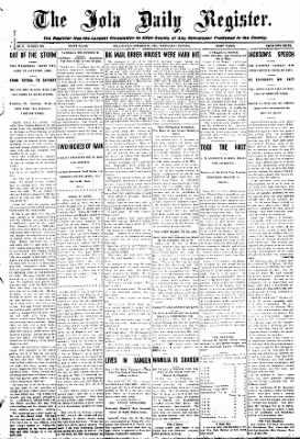 Iola Daily Register And Evening News from Iola, Kansas on October 21, 1908 · Page 1