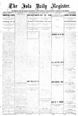 Iola Daily Register And Evening News from Iola, Kansas on October 23, 1908 · Page 1