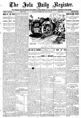 Iola Daily Register And Evening News from Iola, Kansas on October 27, 1908 · Page 1