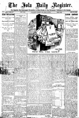 Iola Daily Register And Evening News from Iola, Kansas on November 2, 1908 · Page 1