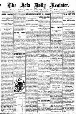 Iola Daily Register And Evening News from Iola, Kansas on November 3, 1908 · Page 1