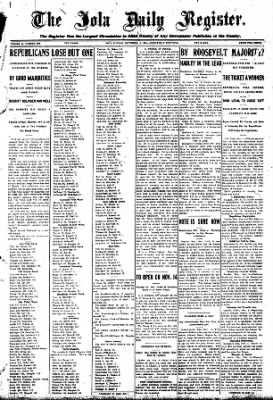 Iola Daily Register And Evening News from Iola, Kansas on November 4, 1908 · Page 1
