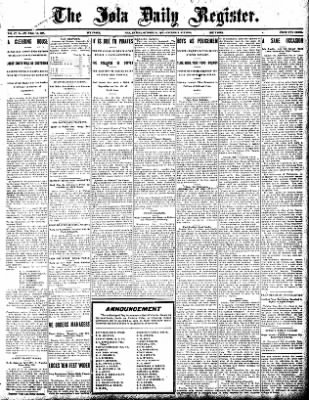 Iola Daily Register And Evening News from Iola, Kansas on October 31, 1907 · Page 1