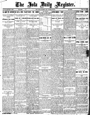 Iola Daily Register And Evening News from Iola, Kansas on November 7, 1907 · Page 1