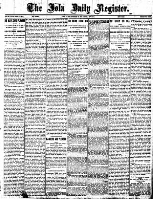 Iola Daily Register And Evening News from Iola, Kansas on November 18, 1907 · Page 1