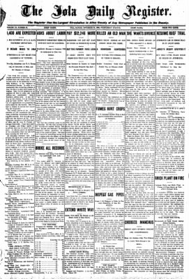 Iola Daily Register And Evening News from Iola, Kansas on November 18, 1908 · Page 1