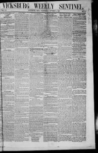Sample Vicksburg Weekly Sentinel front page