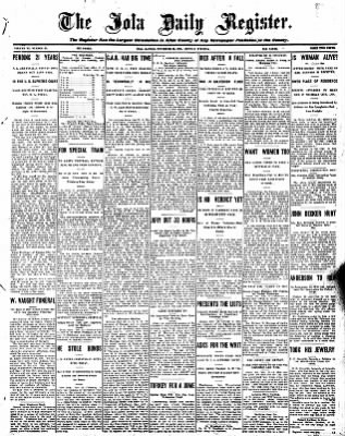 Iola Daily Register And Evening News from Iola, Kansas on November 23, 1908 · Page 1