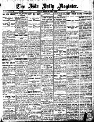 Iola Daily Register And Evening News from Iola, Kansas on December 3, 1907 · Page 1