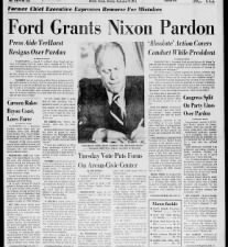 President Gerald Ford grants pardon to former president Richard Nixon for criminal conduct