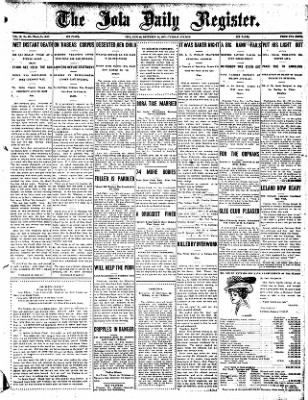 Iola Daily Register And Evening News from Iola, Kansas on December 24, 1907 · Page 1