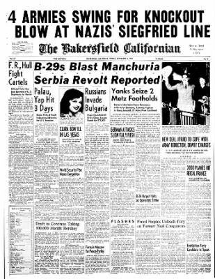 The Bakersfield Californian from Bakersfield, California on September 8, 1944 · Page 1