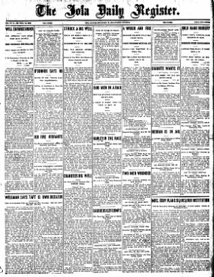 Iola Daily Register And Evening News from Iola, Kansas on December 27, 1907 · Page 1
