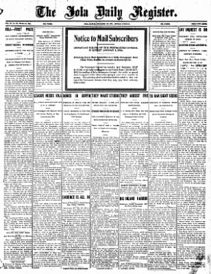 Iola Daily Register And Evening News from Iola, Kansas on December 30, 1907 · Page 1