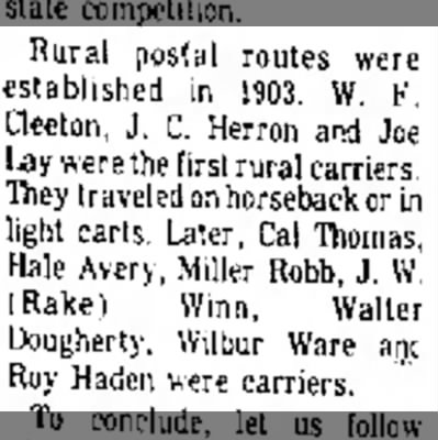 Higbee Golden Anniversary mentioning Hale Avery - Rural postal routes were established in 1903....