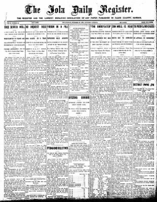 Iola Daily Register And Evening News from Iola, Kansas on December 26, 1908 · Page 1