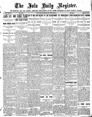 Iola Daily Register And Evening News from Iola, Kansas on December 29, 1908 · Page 1