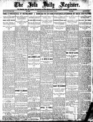 Iola Daily Register And Evening News from Iola, Kansas on January 9, 1908 · Page 1