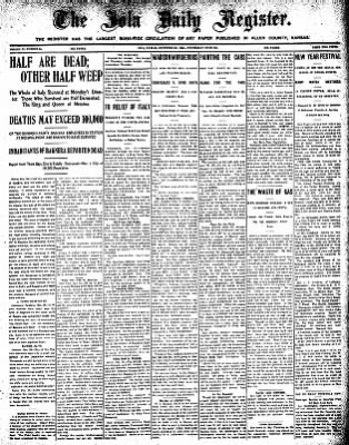 Iola Daily Register And Evening News from Iola, Kansas on December 30, 1908 · Page 1