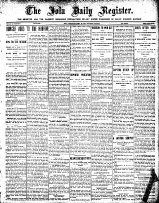 Iola Daily Register And Evening News from Iola, Kansas on December 31, 1908 · Page 1